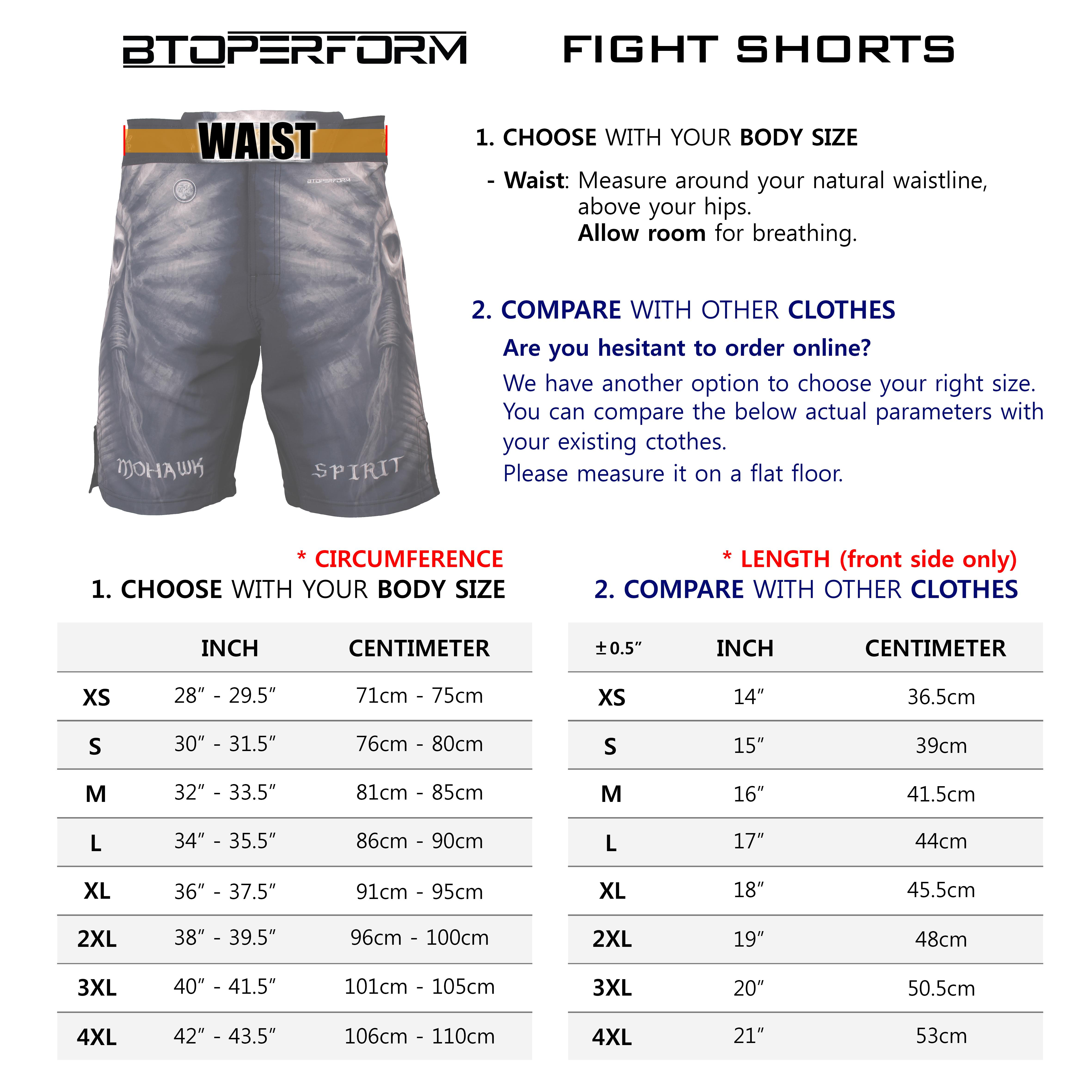 Btoperform Fight Shorts Sizing Chart