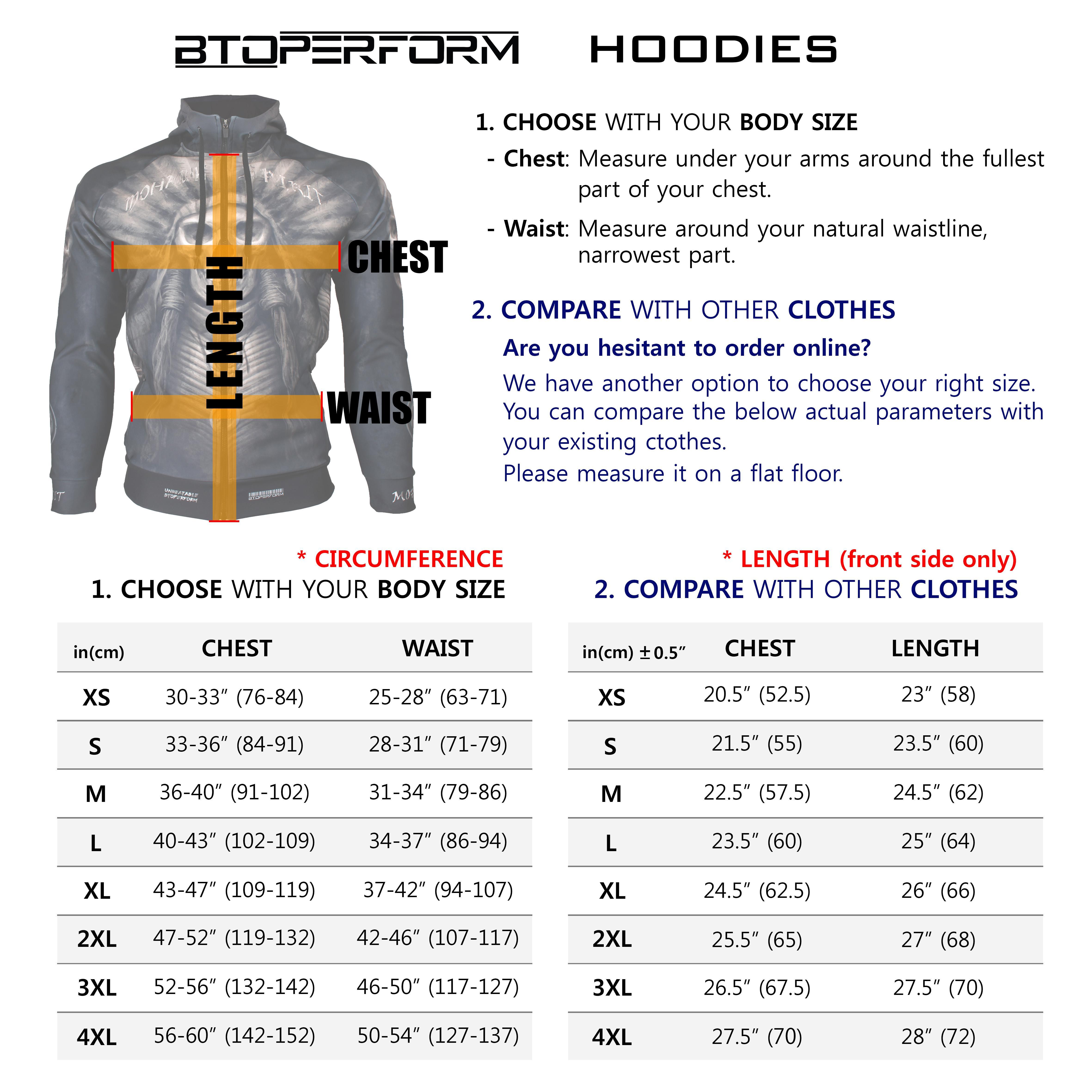 Btoperform Hoodies Sizing Chart