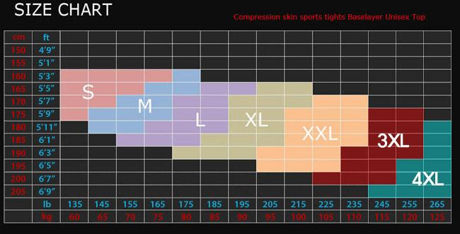 fixgear compression sizing chart