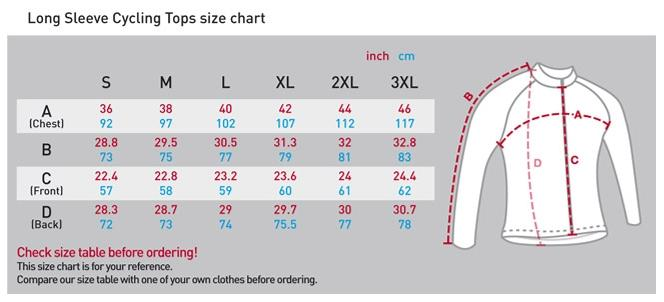 fixgear long sleeve cycling jerseys sizing chart