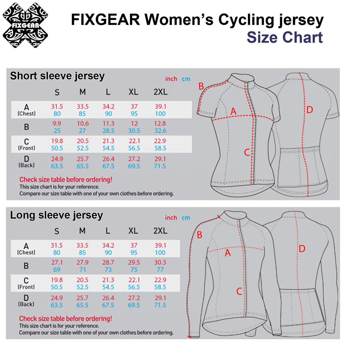 fixgear womens cycling jerseys sizing chart