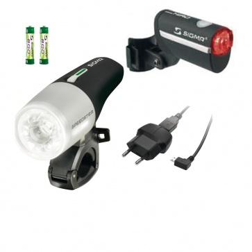 Sigma Speedster LED Front Light + Hiro Rear Light Complete Set