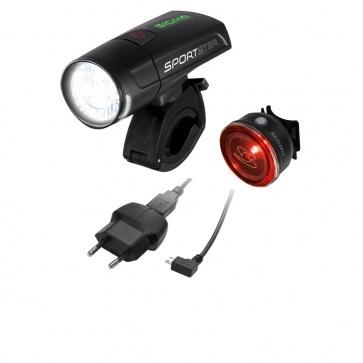 Sigma Sportster LED Front Light + Mono LED Rear Light - Black