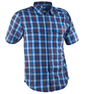 Race Face Shop Shirt- Short Sleeve Plaid Blue