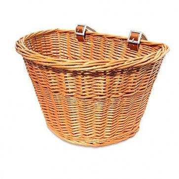 Colorbasket Wicker D-Shape Strap-on Tan Handlebar Basket Natural Color