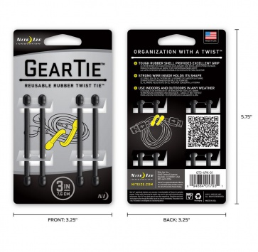 "NITE IZE GEAR TIE 3"" BLACK 4 PACK"
