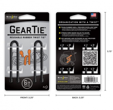 "NITE IZE GEAR TIE 6"" BLACK 2 PACK"