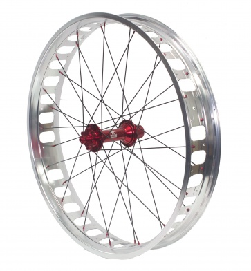 Anvil Completed Wheel Set Front 190mm QR Red Hub 26inch 100Rim Silver