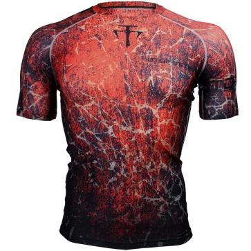 Btoperform Grunge -Red Full Graphic Compression Short Sleeves Shirts FX-307R