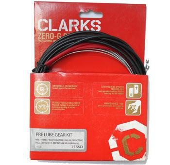 CLARKS GOLD SHIFT CABLE KIT FRONT & REAR BLACK