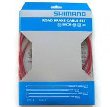 SHIMANO PTFE ROAD BRAKE CABLE & HOUSING SET RED