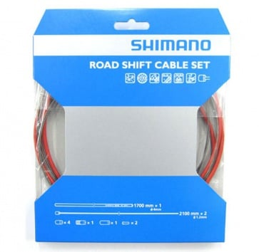 SHIMANO PTFE ROAD SHIFT CABLE & HOUSING SET RED