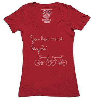 CLOCKWORK GEARS YOU HAD ME AT BICYCLE WOMENS VINTAGE RED XL