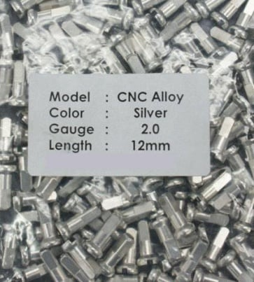 CN spoke Alloy Color Nipples 50pcs 2.0x12mm Silver