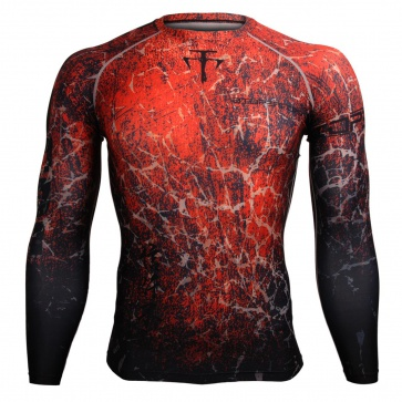 Btoperform Grunge Red FX-107R Compression Top MMA Jersey Shirts