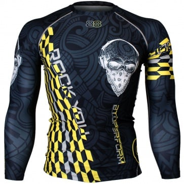 Btoperform Rock You Yellow Full Graphic Compression Long Sleeve Shirts FX-141Y