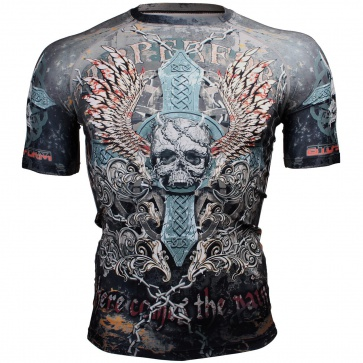 Btoperform Skull Cross Full Graphic Compression Short Sleeves Shirts FX-306