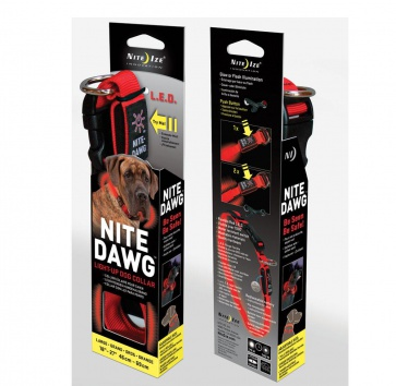 NITE IZE NITE DAWG COLLAR RED LARGE 18-27""