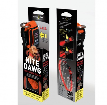NITE IZE NITE DAWG COLLAR ORANGE SMALL 10-13""
