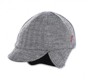 Pace Reversible Wool Hat Herringbone Black