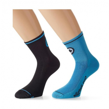 Assos milleSock evo7 Cycling Socks 2 pairs Black Blue