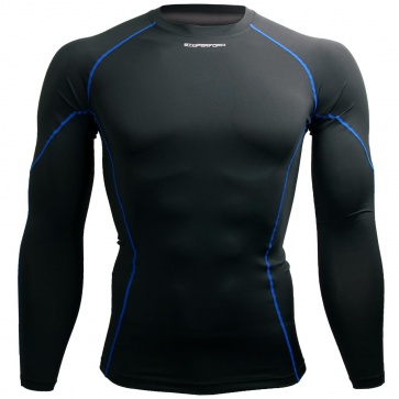 Btoperform Basic BaseLayer Compression MMA Sport Jersey Blue Line