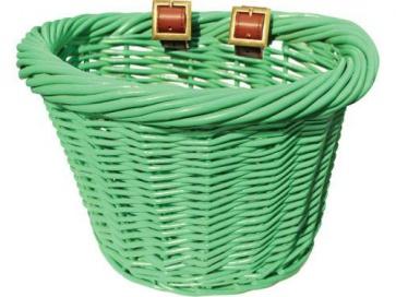 Colorbasket Wicker Jr Strap-on Bike Basket Green