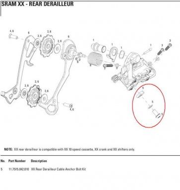 Sram Rear Derailleur Cable Anchor Bolt Washer Kit XX