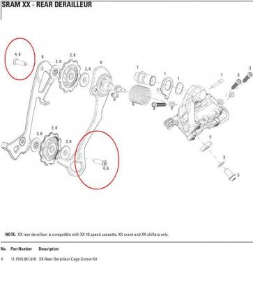 Sram Rear Derailleur Cage Screw Kit XX 11.7515.041.010