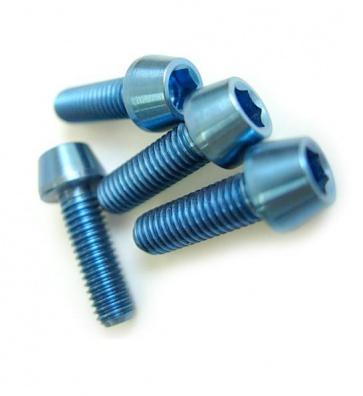 Tiparts Titanium M5x16mm Taper Head Stem Bolts blue