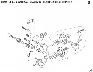 Sram Force Medium Rear Derailluer Cage Pulley Kit 11.7515.033.050