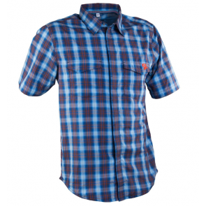 Race Face Shop Shirt- Short Sleeve Plaid Blue