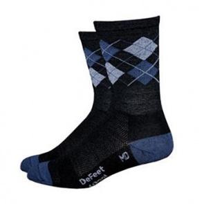 "Defeet Wooleator 5"" Argyle Grey Sock XL"