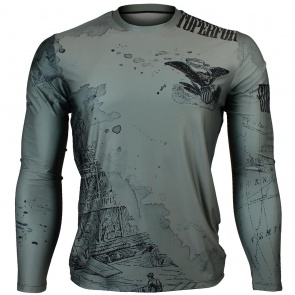 Btoperform Old Wild - Khaki Full Graphic Loose-fit Long Sleeve Crew neck Shirts FR-147H