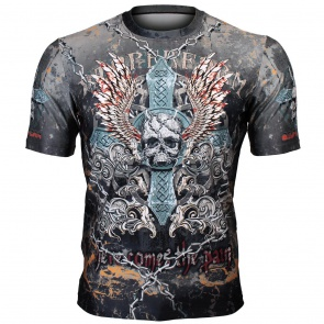 Btoperform Skull Cross Full Graphic Loose-fit Crew neck T-Shirts FR-306