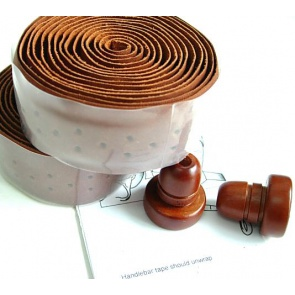 Gyes GT-01H Handle bar Leather Tape Brown