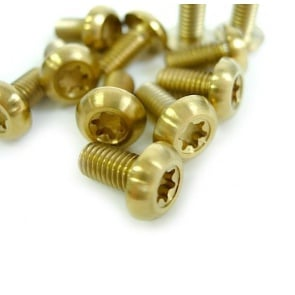 Tiparts Disc Rotor Titanium Bolts 12pcs gold M5x10