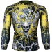 Btoperform Skull Roses Yellow Full Graphic Compression Long Sleeve Shirts FX-139Y