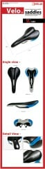 Velo Bicycle bike saddle seat VL-1383 cromo rail black